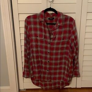 Madewell red and gray flannel shirt